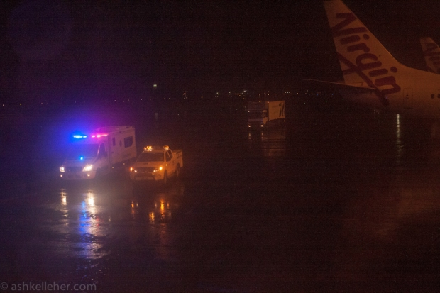 The Ambulance waiting to get the fitting girl off the plane.. She had to wait as well!