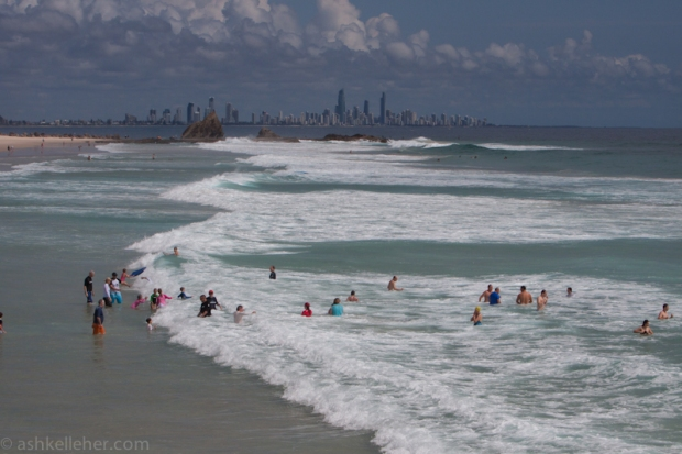 Swim only in the flags today.. Easterly flash rips aplenty.