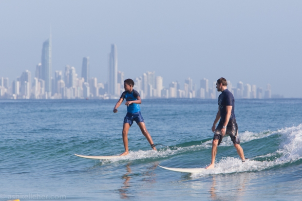 Melbourne Holiday makers sharing a father-son moment.