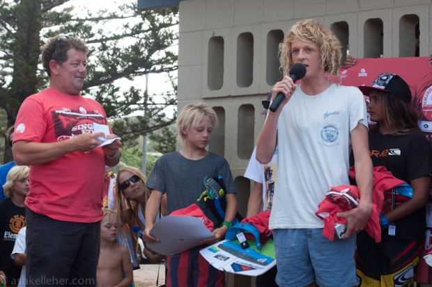 Winner of the Groms, being a grom.