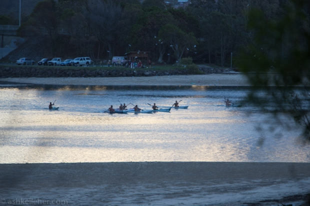 Paddlers int he dusk.