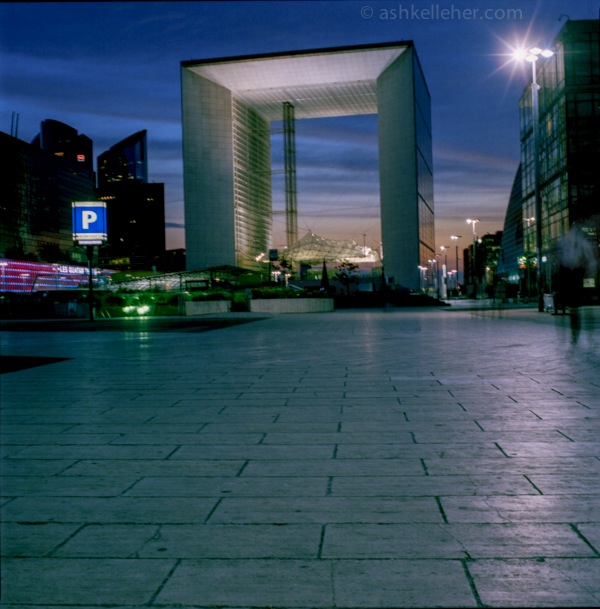 La Defense in France.. Every building is different and at sunset in summer this is the norm..