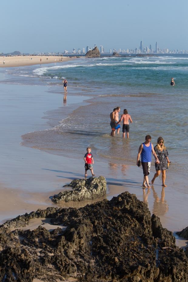 Morning beach walkers.