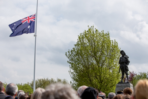 The statue and the flag.